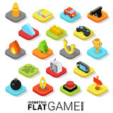 Flat 3d isometric trendy vector game gaming web mobile app. Flat 3d isometric trendy style game gaming gamification web mobile app infographics icon set. Website Stock Photography