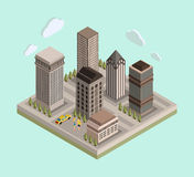 Flat 3d isometric urban city center map/real. Estate background with buildings, roads, car and people. Vector illustration Stock Photo