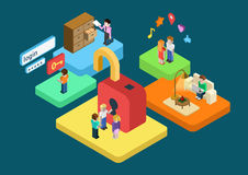 Flat 3d isometric user profile secure SSL authentication concept. Ual . Virtual login password form, restricted access content concept infographics. Platforms Royalty Free Stock Photo