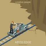 Flat 3d isometric vector abyss edge time to stop business Stock Photos