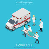 Flat 3d isometric vector ambulance emergency patient medical. Flat 3d isometric style ambulance emergency medical evacuation accident concept web infographics Royalty Free Stock Images