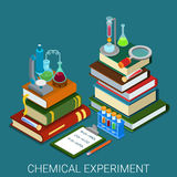 Flat 3d isometric vector chemical lab experiment research books Royalty Free Stock Photos