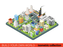 Flat 3d isometric vector city power energy industrial houses Royalty Free Stock Photography