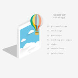 Flat 3d isometric vector design of the startup process. Royalty Free Stock Image
