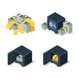 Flat 3d isometric vector dollar coin golden heap security safe Stock Photos