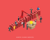 Flat 3d isometric vector illustration innovation concept design, Abstract urban modern style, high quality business series.  Royalty Free Stock Images