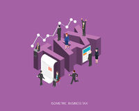 Flat 3d isometric vector illustration tax concept design, Abstract urban modern style, high quality business series.  Stock Image