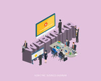 Flat 3d isometric vector illustration webinar concept design, Abstract urban modern style, high quality business series Stock Photos