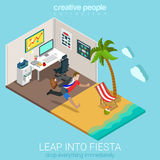 Flat 3d isometric vector leap into fiesta office tropical beach. Flat 3d isometric style leap into fiesta concept web infographics vector illustration stock illustration