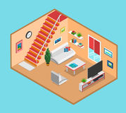 Flat 3d isometric vector living room interior web infographics Stock Photography
