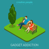 Flat 3d isometric vector mobile gadget addiction technology. Flat 3d isometric style mobile gadget addiction technology concept come back to real life web Stock Photo