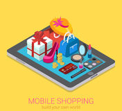 Flat 3d isometric vector mobile shopping infographic consumerism Stock Photos