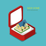 Flat 3d isometric vector real estate house gift box villa house. Flat 3d isometric style real estate house present concept web infographics vector illustration Stock Images
