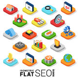 Flat 3d isometric vector SEO search engine optimization icon Royalty Free Stock Photo