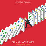 Flat 3d isometric vector strive win not give up trying domino Stock Images