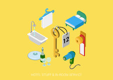 Flat 3d isometric vector web hotel all inclusive room service Stock Photo