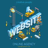 Flat 3d isometric vector website building construction site Royalty Free Stock Image