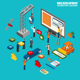 Flat 3d isometric of web design and development Stock Photos