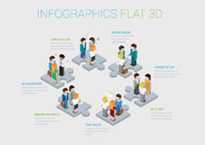 Flat 3d isometric web infographic teamwork collaboration concept