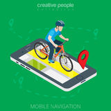 Flat 3d isometricmale cyclist smartphone online. Flat isometric male cyclist over smartphone with GPS app map vector illustration. 3d isometry mobile navigation Royalty Free Stock Image