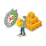 Flat 3d moving delivery isometric man service. Flat isometric courier holding heavy cardboard boxes near huge stopwatch and cargo pyramid vector illustration Royalty Free Stock Photography