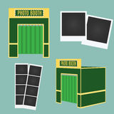 Flat and 3d photo booth icon. Infographic element. Classic photo frames. Decorative elements Stock Photos