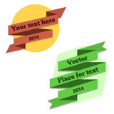 Flat 2D ribbons for text Royalty Free Stock Images
