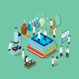 Flat 3d  science chemical pharmaceutical res. Flat 3d isometric style science chemical pharmaceutical research lab web infographics  illustration. Big books Stock Photos