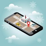 Mobile searching. Looking for bar or wine shop. Snow winter day. Waiting for a Christmas and New Year. Isometric mobile. Flat 3d vector isometric illustration Stock Images