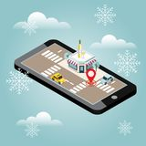 Mobile searching. Looking for bar or wine shop. Snow winter day. Waiting for a Christmas and New Year. Isometric mobile. Flat 3d vector isometric illustration Stock Photo