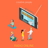 Flat 3d vector isometric online music internet radio listening. Flat 3d isometric online internet radio streaming listening web infographics concept. Huge Stock Photo