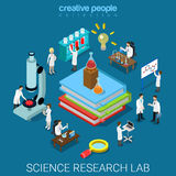 Flat 3d vector science chemical pharmaceutical research lab Stock Images