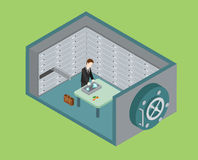 Flat 3d web isometric bank vault safe depository concept Stock Image