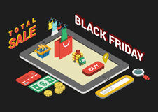 Flat 3d web isometric black friday sale infographic concept Stock Photo