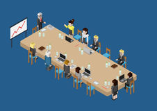 Flat 3d web isometric business meeting, skull session, council. Flat 3d isometric business meeting, skull session, council, presentation, get-together, palaver royalty free illustration