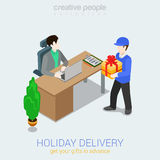Flat 3d web isometric courier gift delivery infographic concept Stock Photography