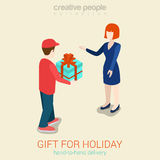 Flat 3d web isometric courier gift delivery infographic concept Royalty Free Stock Images
