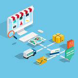Flat 3d web isometric e-commerce, electronic business, online sh Stock Photos