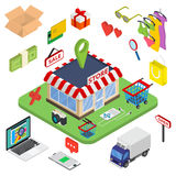Flat 3d web isometric e-commerce, electronic business. Online shopping, payment, delivery, shipping process, sales, black friday infographic concept vector royalty free illustration