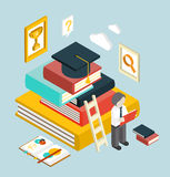 Flat 3d Web Isometric Education Graduation Stock Photography