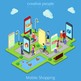 Flat 3d web isometric mobile e-commerce electronic. Business online mobile shopping sales infographic concept vector. People walk streets between stores stock illustration