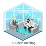 Flat 3d web isometric office meeting room. Flat design. 3d illustration Stock Image