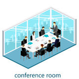 Flat 3d web isometric office meeting room. Flat design. 3d illustration Royalty Free Stock Image