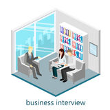 Flat 3d web isometric office meeting room. Set of object Royalty Free Stock Photo