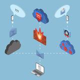 Flat 3d web isometric online safety, data Stock Images