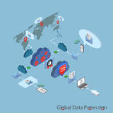 Flat 3d web isometric online safety, data. Data protection and safe work. Flat design isometric EPS10 Stock Photos