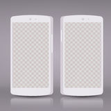 Flat 3d white smartphones mockups with blank screen . Empty screen phone. Royalty Free Stock Photos