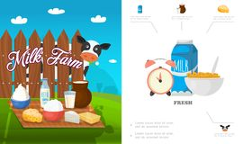Flat Dairy Products Concept. With milk kefir feta cottage cheese butter cream corn flake alarm clock cow vector illustration Stock Image