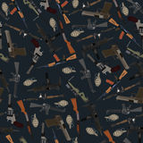 Flat dark seamless pattern weapons Stock Images