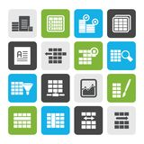 Flat Database and Table Formatting Icons. Vector Icon Set Stock Images